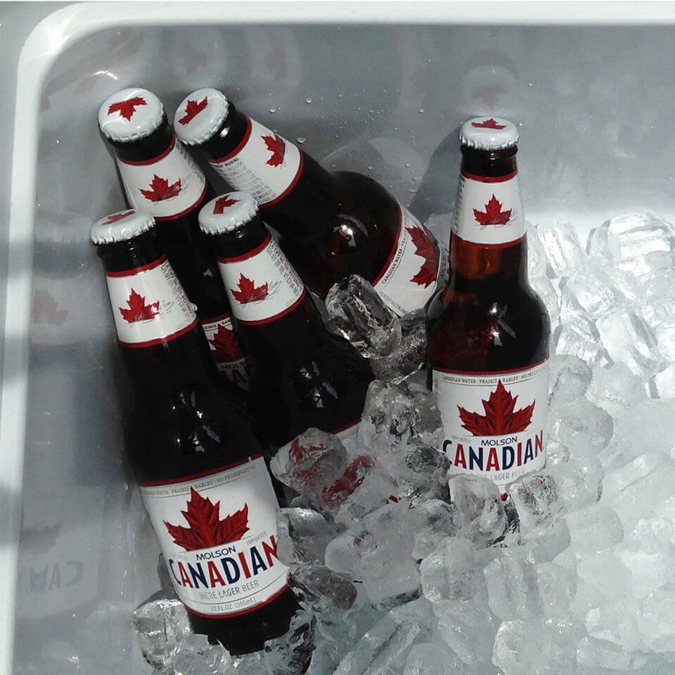 Molson Canadian Beer Bottles in a cooler